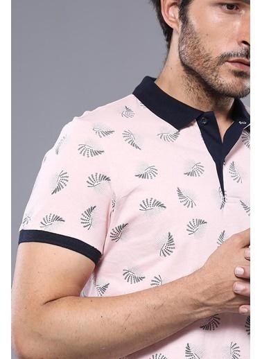 Wessi Erkek Çiçek Desenli Polo Yaka Slim Fit Tişört Pembe